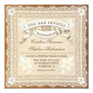 vintage lace typographic wedding invitations