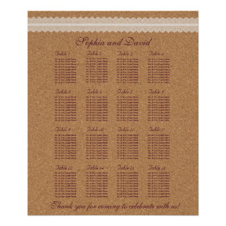 Vintage Lace Wine Cork Wedding  Seating Chart 16