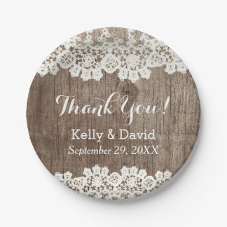Vintage Laced Barn Wood Rustic Wedding Thank You Paper Plate