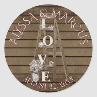 Vintage Ladder and Rustic Barn Wood Wedding Classic Round Sticker