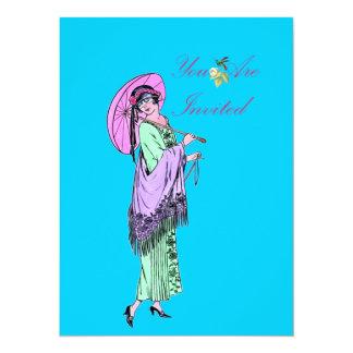 "Vintage Ladies Fashion Invite 5.5"" X 7.5"" Invitation Card"
