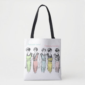 Vintage ladies fashion print & lace effect tote bag