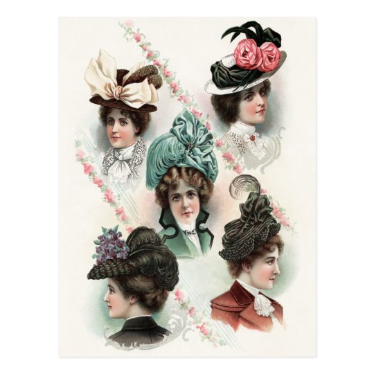 Vintage Ladies Fashion Victorian Hats Postcard