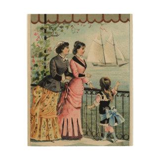 Vintage Ladies, Girl, Sailing Ship Wood Wall Art Wood Prints
