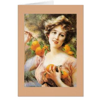 Vintage Lady and Orange Tree, Card