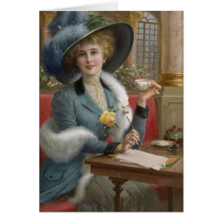 Vintage Lady at a Writing Desk, Card