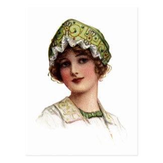 Vintage Lady Bead and Lace Bonnet Postcard