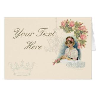 Vintage Lady & Catherine Klein Roses Note Card