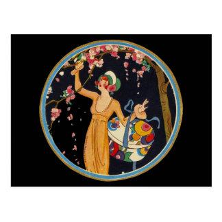 Vintage Lady Cherry Blossom Tree Hat Box Postcard