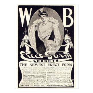Vintage lady corsets advert postcard
