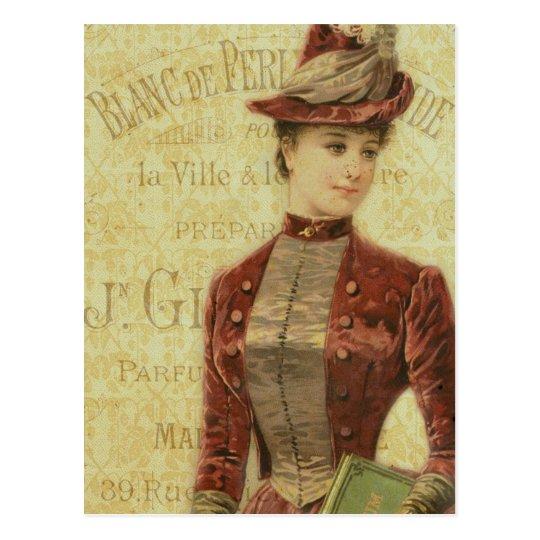 Vintage Lady Elegant Endpaper French Typography Postcard