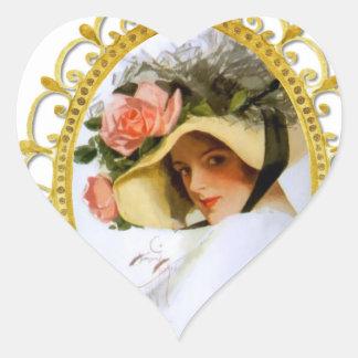 Vintage Lady Floral Monogram Heart Sticker