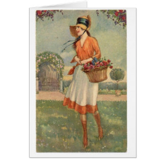 Vintage Lady Gathering Fresh Flowers, Card
