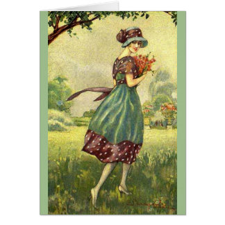 Vintage Lady Gathering Wild Flowers, Card