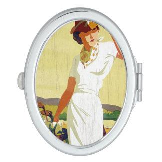 Vintage lady Golfer Golfing Compact Mirror