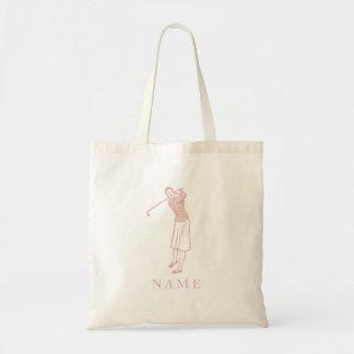 Vintage Lady Golfer in Pink Tote Bag