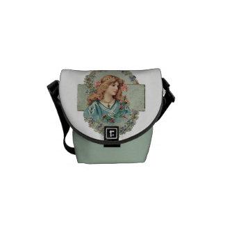 Vintage Lady Graphic Messenger Bag