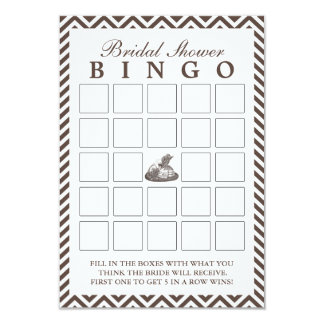 Vintage Lady Hat Chevron Bridal Shower Bingo Cards
