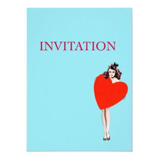 "Vintage Lady Holding Love Heart 5.5"" X 7.5"" Invitation Card"