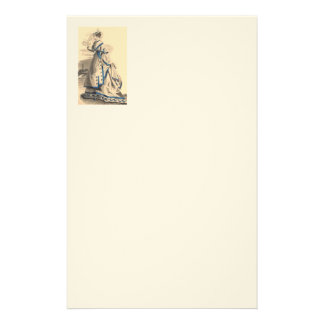 Vintage Lady In Blue And Beige Stationery Paper