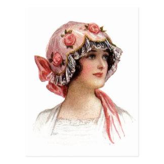 Vintage Lady in Silk Flowered Bonnet Postcard
