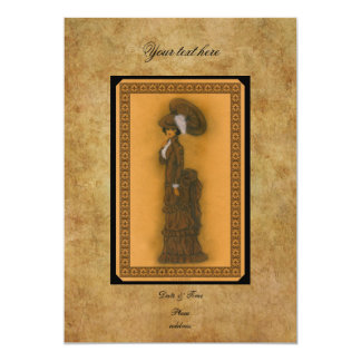 """Vintage Lady 5"""" X 7"""" Invitation Card"""