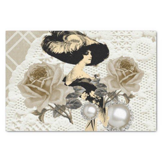 Vintage Lady Ivory Lace Elegant Tissue Paper
