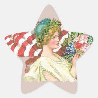 vintage lady liberty decal star sticker