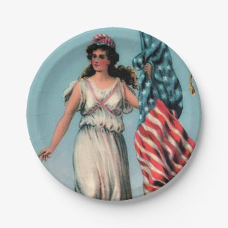 Vintage Lady Liberty Independence Day Party Plates 7 Inch Paper Plate