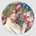 Vintage Lady Liberty_Sticker Round Sticker