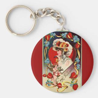 Vintage Lady My Valentine Round Keychain