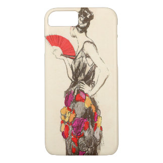 Vintage Lady of Fashion with a Spring Dress iPhone 7 Case