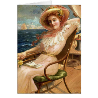 Vintage Lady On a Sailboat Deck, Card