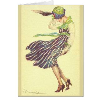 Vintage Lady on a Windy Day, Card