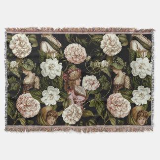 Vintage Lady Retro Botanical Flower Floral Pattern Throw Blanket