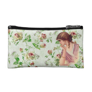 Vintage Lady - Roses Background Cosmetics Bags