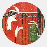 Vintage Lady Round Sticker