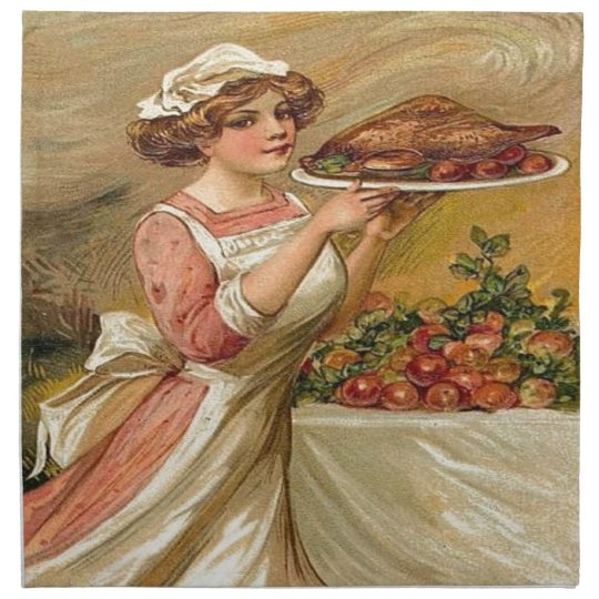 Vintage, Lady serving Thanksgiving Turkey Cloth Napkins