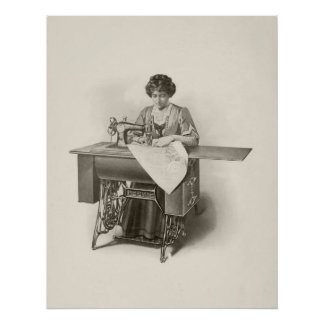 Vintage Lady Sewing Machine Seamstress Poster
