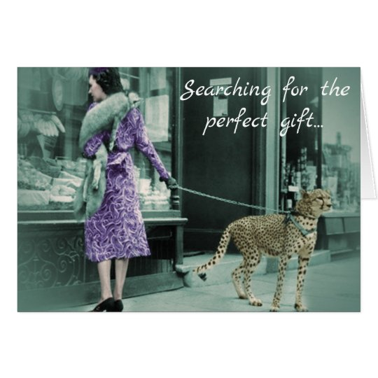 Vintage Lady Shopping with Cheetah Greeting Card