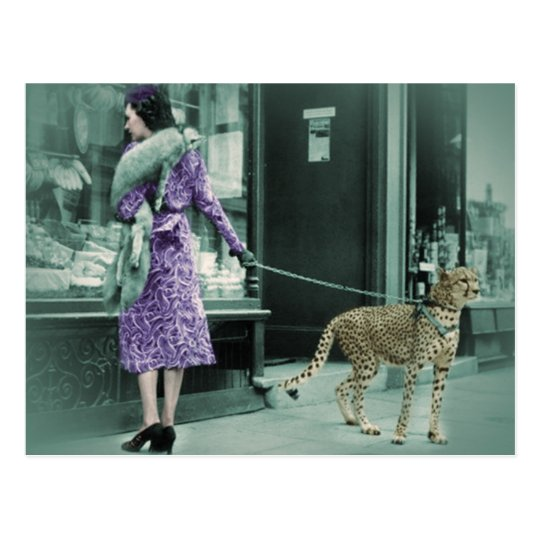 Vintage Lady Shopping with Cheetah Postcard