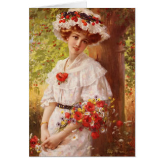 Vintage Lady Under a Cherry Tree, Card