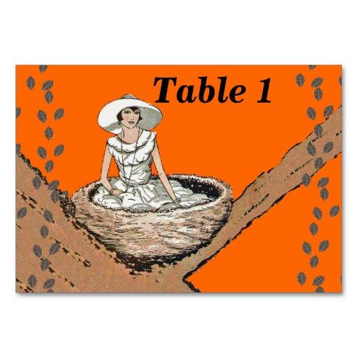 Vintage Lady White Dress Bird Nest Leaves Table Card