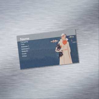 Vintage Lady White Suit Scotty Terrier Dog Ocean Magnetic Business Card
