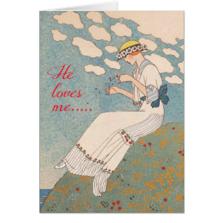 Vintage Lady with Flower by George Barbier Card