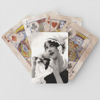 Vintage Lady with Flower Playing Cards