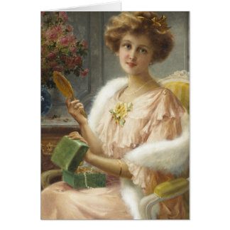 Vintage Lady with Mirror & Jewelry Box, Card