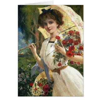 Vintage Lady with Parasol in a Garden, Card