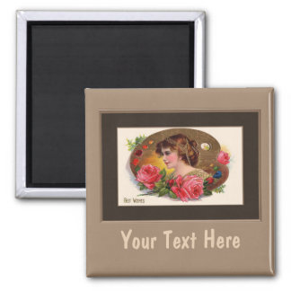Vintage Lady With Roses Magnet