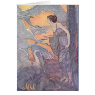 Vintage - Lady with Six Swans, Card